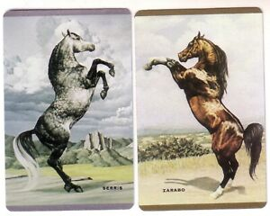 Pair Vintage Named Horses Serris and Zarabo -- Swap Playing Cards Mint Unused
