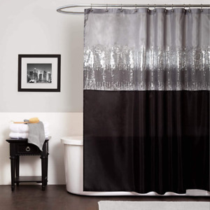 Lush Decor Night Sky Shower Curtain | Sequin Fabric Shimmery Color Block Design