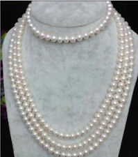 long 100''AAA7-8mm natural akoya white  pearl necklace 14K  gold