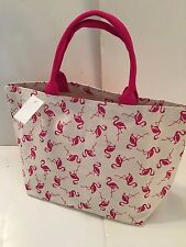SMALL/MED CANVAS SEASHORE PINK FLAMINGO beach cotton THICK 100% COTTON  NEW