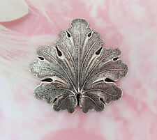 ANTIQUE SILVER LEAF Stamping ~ Oxidized Jewelry Woodland Finding (FB-6037-814) *