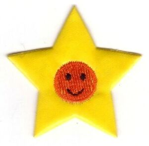 Yellow Star Orange Face Embroidered Patch
