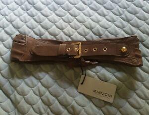 MANZONI Hazelnut Brown Woven Plaited Waist Belt Leather Size S M BNWT