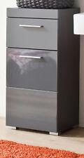 Badezimmer Badschrank Kommode Unterschrank Hochglanz grau Schubkasten Tür Amanda