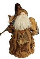 """Ornate Woodlands Santa 22"""" Tall Faux Brown Fur Free Standing Or Tree Topper"""