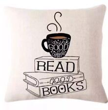 Good Coffee Good Book Cushion Cover