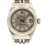 ROLEX Oyster Perpetual Datejust Steel 26mm SILVER Meteorite Diamonds Dial Watch