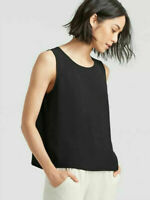 NWT Eileen Fisher Silk Georgette Crepe Round Neck Shell Black Tank Size 1X