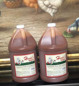 2- Harold's Chicken Louisiana Style Hot Sauce 1 Gallon Bottles
