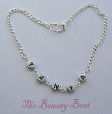 """Silver Plated Ankle Chain Anklet  Length 10"""" Personalised With Any name"""