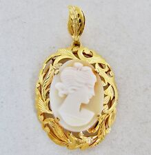"""23K Yellow Gold Cameo Pendant with Carved Shell Cameo  (5.1 grams, 1.7"""")"""