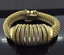 Connected Chains Impressive Chunky Unique Antique Exuberant Bracelet Gilt Metal