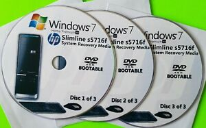 HP Slimline s5716f Factory Recovery Media 3-Discs / Windows 7 Home 64-bit