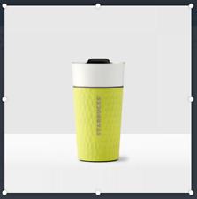 RARE 2016 Starbucks Coffee Tumbler Mug Lemon White Hammered Travel Ceramic NEW