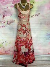 MONSOON STUNNING FULL LENGTH PINK SILK MAXI FLORAL DRESS SIZE 14