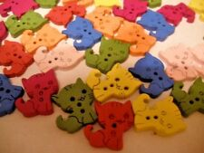 """BUTTONS,Specialty: KITTENS, 3/4"""", 2 Holes, Wood,Random Mixed Colors,50 pcs"""