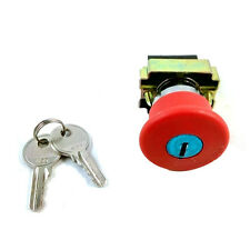 XB2BS142C Key EMT Red Emergency Stop Mushroom Push button Switch Brand New