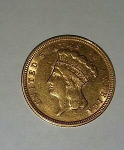 1854 $3 Indian Princess, Almost Unc. Details, Nice Appearance, Added O Mint Mark