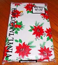 NEW Christmas Tablecloth 52 x 70 Oblong Poinsettias Holly Ivy Soft Backing