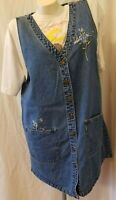 T & R Denims Since 1966 Embroidered Sleeveless Button Front Jumper Misses Size M