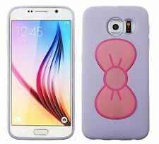 For Samsung Galaxy S6 - HARD RUBBER CASE COVER LAVENDER HELLO KITTY BOW STAND