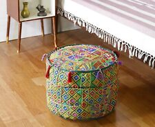 Indian Ottoman round stool pouf cover patchwork pouffe footstool cover storage