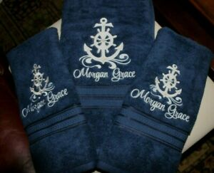 Nautical Anchor Navy Bathroom  1 BATH 2 HAND TOWEL SET EMBROIDERED Personalized