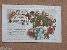 R&L Postcard: Dear Sister Birthday, Young Girl, Flowers, Carnations, Real Photo