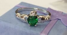 925 Sterling silver green amethyst claddagh ring shamrock Irish gifts size 8!