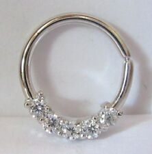 Surgical Steel Clear Gems CZ Cartilage Hoop Ring Seamless 16 gauge 16g