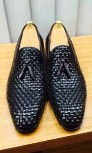 Handmade Men's Genuine Black Leather Loafer Moccasin Tassels Shoes US088