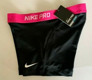 "NEW! NIKE PRO [L] Womens 3.0"" COMPRESSION SHORTS-Black/Fuchsia 589364-020"