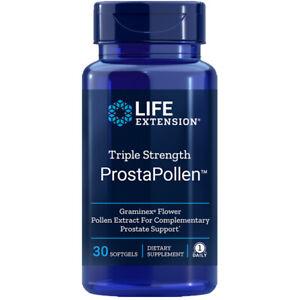 Triple Strength ProstaPollen 30 softgels Life Extension Graminex 378mg