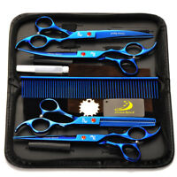 """7"""" Professional Pet Dog Cat Grooming Scissors Hair Dressing Curved Trimmers Set"""