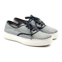 Bernie Mev Womens Metallic Silver Woven Lace Up Walking Fashion Sneakers Sz 9 US