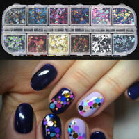 Holographic 12 Grids 3D Glitter Sequin Mix Dots Gel Nail Art Acrylic Nail Design