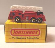 MJ7 Matchbox -  Yellow Box - MB18 Ladder Fire Truck - Red - Fire Dept. Shield