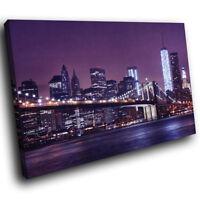 SC513 Purple New York City Skyline Landscape Canvas Wall Art Large Picture Print