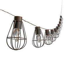 Solar Powered 10 LED Lantern String Lights Metal Cage Bulb Shape Garden Lights