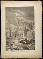 Gravure de 1860 - L'Érèbe et la Terror dans les glaces - Expédition Franklin