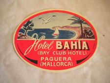Vintage Luggage label Hotel Bahia Bay club Paguera Mallorca 1950s