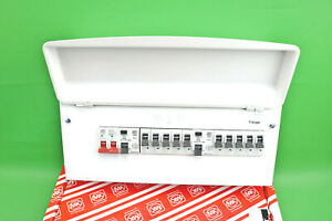 MK Sentry 10 Way Loaded Metal Clad Consumer Unit Dual RCD Fuseboard with 10 MCBs