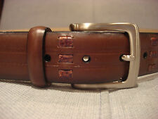 TRAFALGAR 1101PT0004 BROWN CROCO DETAIL LEATHER BROWN BELT SIZE 38 - BRAND NEW
