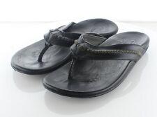 14-64  $120 Men's Sz 10 M Olukai Mea Ola Leather Flip Flops In Black