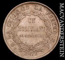 Bolivia: 1872 One Boliviano - Scarce  Almost Uncirculated  #H8136