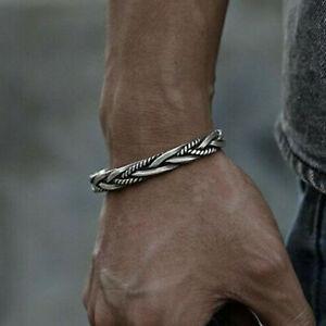 Men 925 Silver Thai Handmade Vintage Open Bangle Twisted Cuff Bracelet