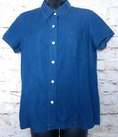 Real Clothes Saks Fifth Avenue Shirt Womens Medium Cotton Short Sleeve Button Up