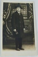 Rare Vintage Collectible Real Photo Postcard Man in a Hat with Gloves AZO 1910s?