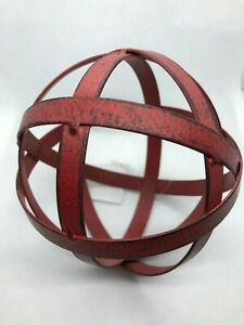 Large Red/Turquoise Distressed Metal Band Decorative Ball / Sphere / Orb