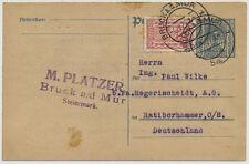 1924 AUSLANDSKARTE, BRUCK a.d. MUR nach RATIBORHAMMER (Deutschland)